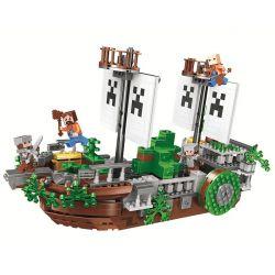 Bela 11139 Lari 11139 Xếp hình kiểu Lego MINECRAFT My World Scenes Thuyền Vượt Biển 630 khối