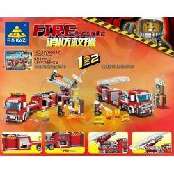 Kazi KY80517 80517 Xếp hình kiểu Lego FIRE RESCURE Fire Rescue Depends On High Truck, Rescue Cloud Ladder Fire Truck 1 Change 2 Xe Cứu Hỏa 491 khối
