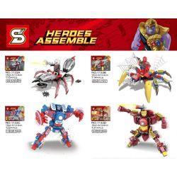 Sheng Yuan 1133 (NOT Lego Marvel Super Heroes Heroes Assemble ) Xếp hình Siêu Anh Hùng Và Đồng Đội gồm 4 hộp nhỏ lắp được 4 mẫu 482 khối