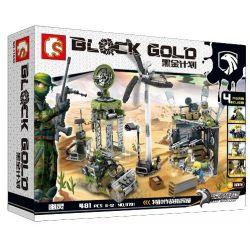 SEMBO 11701 Xếp hình kiểu Lego BLACK GOLD Black Plan Special Combat Headquarters Căn Cứ Trên Sa Mạc 481 khối