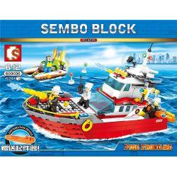 SEMBO 603036 Xếp hình kiểu Lego FIRE RESCURE Fire Frontline Fire Front Line Fire Ship Tàu Cứu Hỏa Trên Biển 474 khối