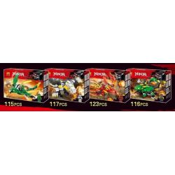 LELE 31109 31109A 31109B 31109C 31109D Xếp hình kiểu THE LEGO NINJAGO MOVIE Phantom Ninja Series Knight 4 Phantom Ninja Series Hiệp Sĩ Kết Hợp 4 Kiểu gồm 4 hộp nhỏ 471 khối