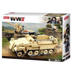 Sluban M38-B0695 (NOT Lego Military Army Sd.kfz.251 Half-Track、k18 105Mm Cannon ) Xếp hình Xe Bọc Thép Và Pháo Phòng Không 460 khối