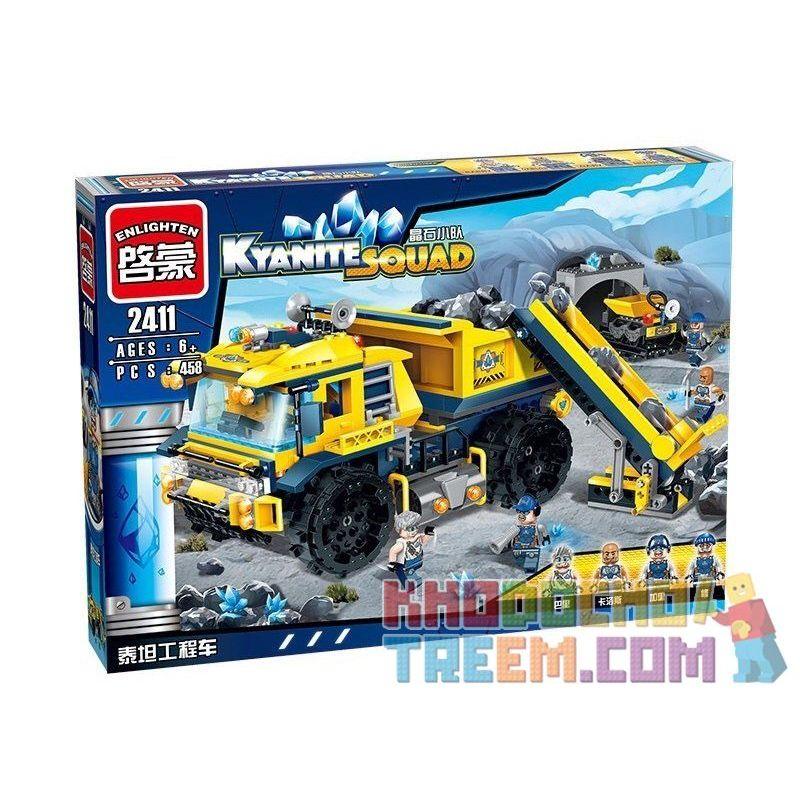 Enlighten 2411 Qman 2411 Xếp hình kiểu Lego KYANITE SQUAD Kyanite Squad Dumptruck Monster Slim Squad Titan Engineering Vehicle Xe Tải Khai Thác Mỏ Đá Quý 458 khối