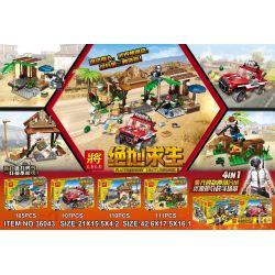 Lele 36043 (NOT Lego PUBG Battlegrounds ) Xếp hình Trò Chơi Sinh Tồn gồm 4 hộp nhỏ 433 khối