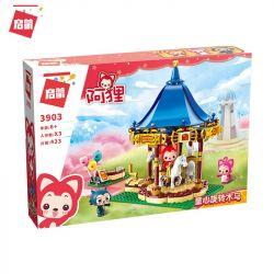 Enlighten 3903 Qman 3903 Xếp hình kiểu Lego ALI'S SMALL DREAMY TOWN Raccoon Child Heart Rotating Trojan Đu Quay Vui Vẻ 433 khối