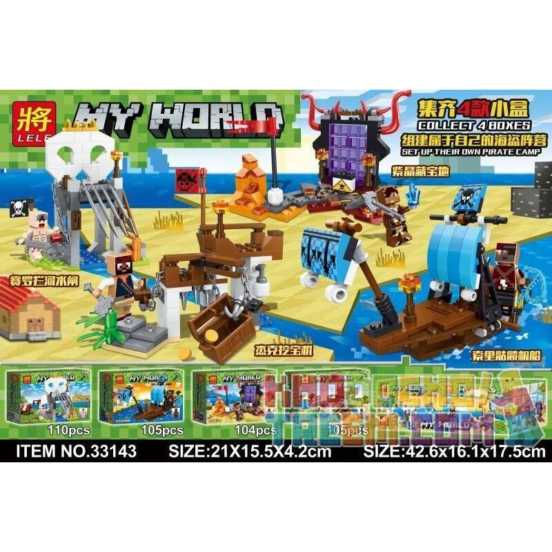 LELE 33143 33143-1 33143-2 33143-3 33143-4 Xếp hình kiểu Lego MINECRAFT MY WORLD Pirate Camp 4 Seredo River Water Brakes, Soron Sailboat, Purple Crystal Treasure, Jack Digging Machine Hải Tặc gồm 4 hộ