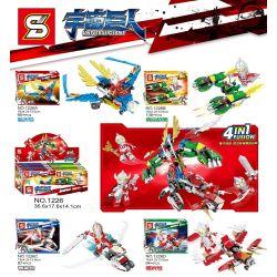 SHENG YUAN SY 1226 1226A 1226B 1226C 1226D Xếp hình kiểu Lego ULTRAMAN Universe Giant Synthetic Hall Armor 4 Blue Sky, Qingshan Warship, Winter Card, Dawn Người Máy Vũ Trụ gồm 4 hộp nhỏ 424 khối