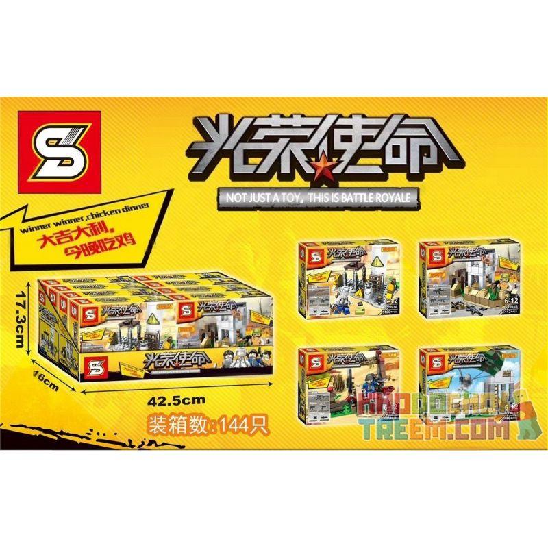 SHENG YUAN SY 993 SY993 SY993A 993A SY993B 993B SY993C 993C SY993D 993D Xếp hình kiểu Lego BATTLE ROYALE Glorious Mission Minifigure Scene 4 Trò Chơi Sinh Tồn gồm 6 hộp nhỏ 422 khối