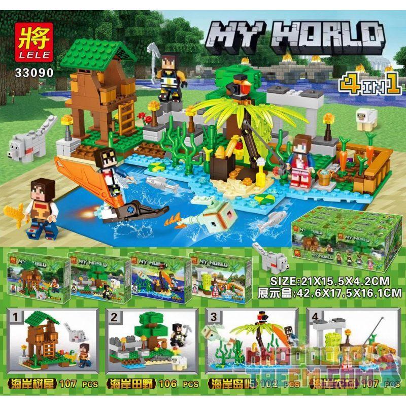 LELE 33090 33090-1 33090-2 33090-3 33090-4 Xếp hình kiểu Lego MINECRAFT MY WORLD Coast Small Scene Combination 4 Sinh Tồn Trên Đảo gồm 4 hộp nhỏ 422 khối