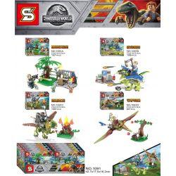 Sheng Yuan 1091 SY1091 (NOT Lego Jurassic World Dinosaur World ) Xếp hình Thế Giới Khủng Long 4 Trong 1 gồm 4 hộp nhỏ 418 khối