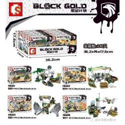 SEMBO 11601 11602 11603 11604 Xếp hình kiểu Lego BLACK GOLD Black Plan Small Scene 4 4 Cảnh Nhỏ gồm 4 hộp nhỏ 416 khối