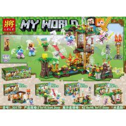 LELE 33178 33178-1 33178-2 33178-3 33178-4 Xếp hình kiểu Lego MINECRAFT My World Man, Scenery 4 In 1 Crystal Version 4 Riverside Fire House, Big Tree Windmill, Pumpkin Runner, 骷髅 Hut Tháp Canh gồm 4 h