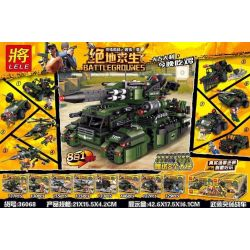 LELE 36068 36068-1 36068-2 36068-3 36068-4 36068-5 36068-6 36068-7 36068-8 Xếp hình kiểu Lego PUBG BATTLEGROUNDS BattleGrounes Jedi Survival Armed Raid Car 8 In 1 Siêu Xe Tăng 8 Trong 1 gồm 8 hộp nhỏ