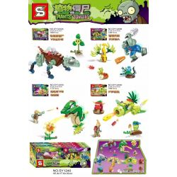 Sheng Yuan 1240 SY1240 (NOT Lego Plants vs Zombies Plants Vs Zombies ) Xếp hình Tiếu Diệt Zombie 4 Trong 1 gồm 4 hộp nhỏ lắp được 4 mẫu 616 khối