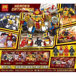 Lele 34057 (NOT Lego Super Heroes Heroes Gathering ) Xếp hình Siêu Anh Hùng Kết Hợp 4 Trong 1 gồm 4 hộp nhỏ 598 khối