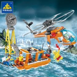 Kazi KY80521 80521 Xếp hình kiểu Lego FIRE RESCURE Fire Rescue Rescue Lifting Helicopter Rescue Boat, Rescue Shipping Ship 1 Change 2 Đội Cứu Hộ Trên Biển 432 khối