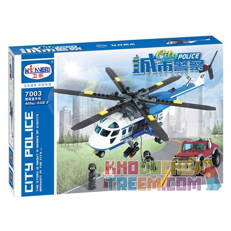 Winner 7003 Xếp hình kiểu Lego City Police Urban Police Police Helicopter Trực Thăng Cảnh Sát 405 khối