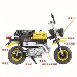 Winner 7071 Xếp hình kiểu Lego TECHNIC The Mini Monkey Motorcycle Mini Motorcycle 1 6 Xe Mô Tô Phân Khối Lớn 402 khối