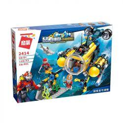 Enlighten 2414 Qman 2414 Xếp hình kiểu Lego KYANITE SQUAD Slim Squad Explorer Submarine Tàu Ngầm Explorer 401 khối