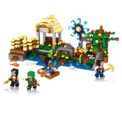 LELE 33066 33066-1 33066-2 33066-3 33066-4 Xếp hình kiểu Lego MINECRAFT My World Scene 4 Riverside Bridge, Riverside Flowers, Riverside Hut, Riverside Windmill Làng Quê Yên Bình gồm 4 hộp nhỏ 715 khối