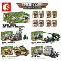 SEMBO 101205 101206 101207 101208 Xếp hình kiểu Lego EMPIRES OF STEEL Steel Empire Fight In The Four Ruins, Soviet 63K High-tech Gun, German Volkswagen Type166 Two-to-ae Car, Landlower Nhà Trống, Pháp