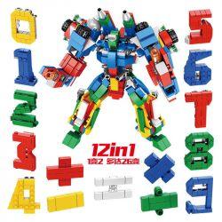 Panlosbrick 633021 (NOT Lego Transformers Digital Robot ) Xếp hình Chữ Số Ghép Lại Thành Robot Khổng Lồ lắp được 12 mẫu 570 khối
