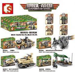 Sembo 101155 101156 101157 101158 (NOT Lego Empires of steel Empires Of Steel ) Xếp hình Xe Bọc Thép, Xe Jeep, Pháo, Trận Địa gồm 4 hộp nhỏ 646 khối