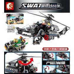 SEMBO 102387 Xếp hình kiểu Lego SWAT SPECIAL FORCE Black Eagle Special Police Large Helicopter Pursuit Trực Thăng Chiến Đấu 502 khối