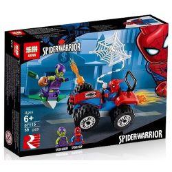 Bela 11184 Lari 11184 LEPIN 07115 Xếp hình kiểu Lego MARVEL SUPER HEROES Spider-Man Car Chase Spider-Man Spider-Man Special Người Nhện Truy Bắt Trên ô Tô 52 khối