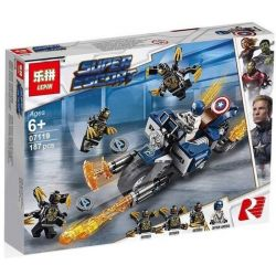 Bela 11258 Lari 11258 LEPIN 07119 Xếp hình kiểu Lego MARVEL SUPER HEROES Captain America Outriders Attack American Captain Fell To The OUTRIDER Legion Captain America Chiến đấu Với Outriders 167 khối