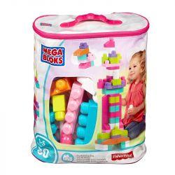 Mega Bloks Mega Bloks First Builders® Big Building Bag (Pink) Xếp hình Bộ Xếp Hình Khối Siêu Lớn Đầu Tiên Màu Hồng 80 khối