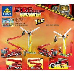 Kazi KY80519 80519 Xếp hình kiểu Lego FIRE RESCURE Fire Rescue Folding Arm-type Rescue Vehicle, High-altitude Operation Of Cloud Ladder Cars 1 Change 2 Xe Cứu Hộ Tay Gấp, Xe Thang Làm Việc Trên Không