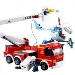 SLUBAN M38-B0627 B0627 0627 M38B0627 38-B0627 Xếp hình kiểu Lego FIRE RESCURE Tower Ladder Fire Truck Fire Hero Upper Platform Fire Truck Xe Thang Cứu Hỏa 394 khối