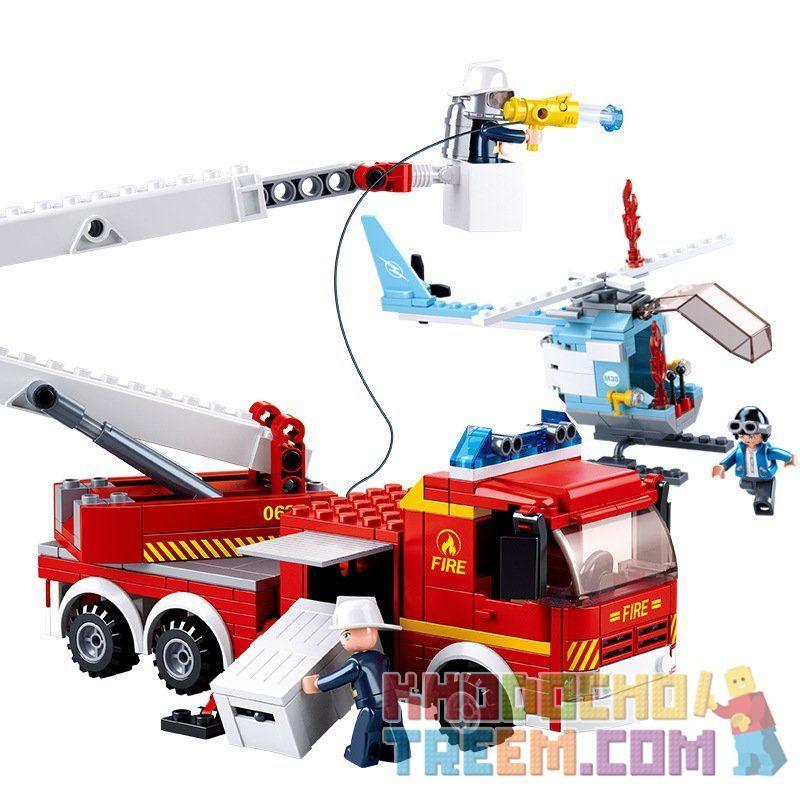 SLUBAN M38-B0627 B0627 0627 M38B0627 38-B0627 Xếp hình kiểu Lego FIRE RESCURE Tower Ladder Fire Truck Xe thang cứu hỏa 394 khối
