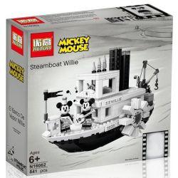 NOT Lego IDEAS 21317 Steamboat Willie, Bela 11396 Lari 11396 DINGGAO DG026 LEJI LJ99018 99018 LEPIN 16062 NUOGAO N16062 16062 SX 3025 6011 Xếp hình Tàu hơi nước của chuột Mickey 751 khối