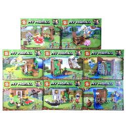 SHENG YUAN SY 1215 1215A 1215B 1215C 1215D 1215E 1215F 1215G 1215H Xếp hình kiểu Lego MINECRAFT My World 8 Models Thế Giới Sinh Tồn gồm 8 hộp nhỏ 738 khối