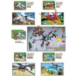 SHENG YUAN SY 1207 1207A 1207B 1207C 1207D SY1207 1207 Xếp hình kiểu Lego MINECRAFT My World Dragon Series Super Machine Dragon To War Block 4 Rồng Nguyên Tố gồm 6 hộp nhỏ lắp được 5 mẫu 1225 khối