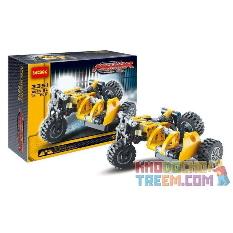 NOT LEGO Technic 8045 Mini Telehandler, Decool JiSi BrickCool 3351 Xếp hình Mô Tô 3 Bánh Sidecar (Mẫu 2) 117 khối