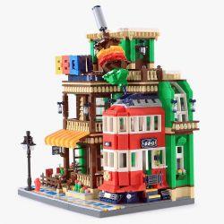 WANGE 6313 Xếp hình kiểu Lego MODULAR BUILDINGS BBQ Restaurant Architecture Barbecue Store Nhà Hàng BBQ 1922 khối