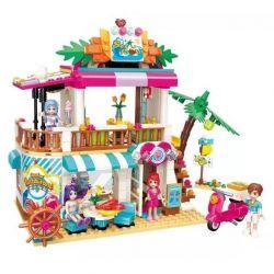 Enlighten 2021 Qman 2021 Xếp hình kiểu Lego FRIENDS Cherry Xueli Vital Beach Beach Seafood Restaurant Nhà Hàng Bên Bờ Biển 527 khối