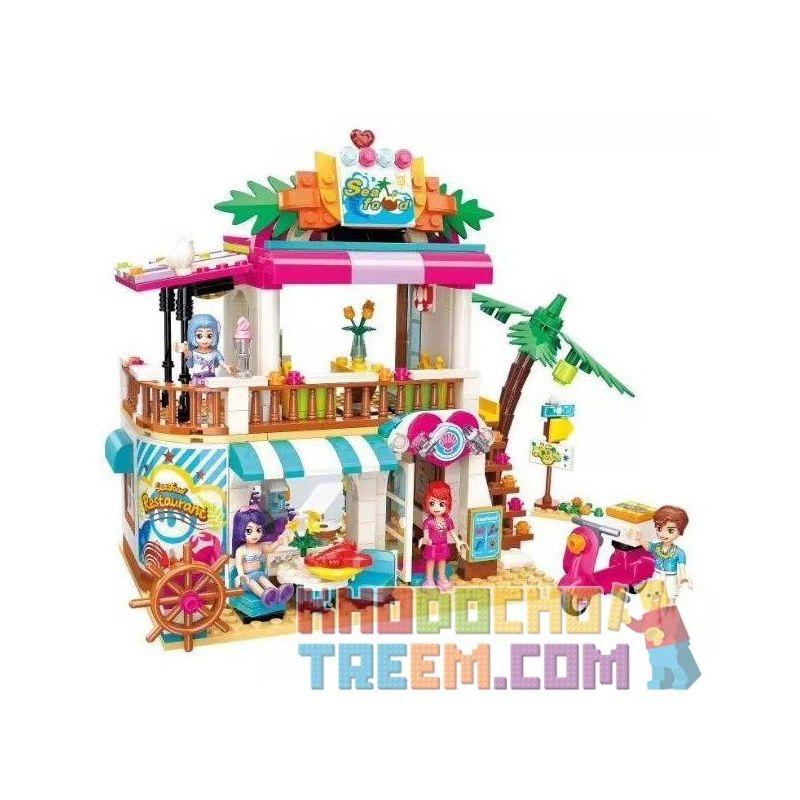Enlighten 2021 Qman 2021 KEEPPLEY 2021 Xếp hình kiểu Lego FRIENDS Cherry Shirley Vibrant Beach Beach Seafood Restaurant Nhà Hàng Bên Bờ Biển 527 khối