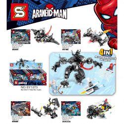 SHENG YUAN SY 1273 SY1273 1273 SY1273A 1273A SY1273B 1273B SY1273C 1273C SY1273D 1273D Xếp hình kiểu Lego SUPER HEROES Araneid-Man Venom Mech 4in1 Soul Hunter, Wind Blade Beast, Extreme Smock Beast, I