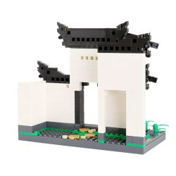 DR.LUCK 3313 WANGE 3313 Xếp hình kiểu Lego CREATOR The Courtyard Of Hui-style Architecture Huizhou Architecture-Courtyard Yuehe Courtyard Gate Cổng Sân Kiểu Trung Hoa 486 khối