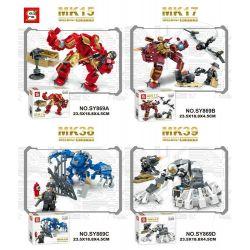 Sheng Yuan 869 SY869 (NOT Lego Marvel Super Heroes Iron Man Mk15 Mk17 Mk38 Mk39 ) Xếp hình Người Sắt gồm 4 hộp nhỏ 612 khối