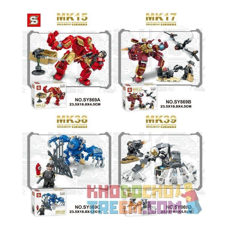 SHENG YUAN SY 869 SY869 SY869A 869A SY869B 869B SY869C 869C SY869D 869D Xếp hình kiểu Lego SUPER HEROES 钢铁机甲 Người sắt gồm 6 hộp nhỏ