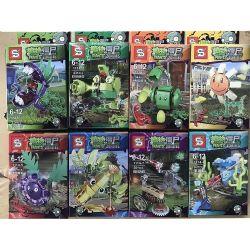 Sheng Yuan 1114 (NOT Lego Plants vs Zombies Plants Vs.zombies ) Xếp hình 8 Mẫu Hoa Trong Game Plants Vs Zombies gồm 8 hộp nhỏ 1167 khối