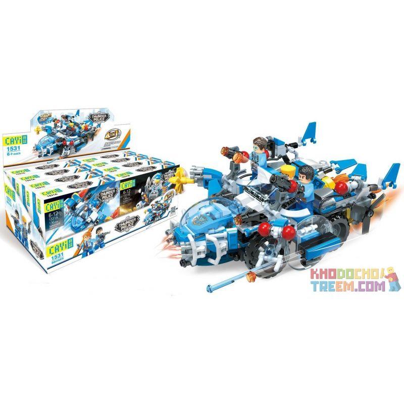 CAYI 1531 1531A 1531B 1531C 1531D Xếp hình kiểu Lego POLICE Thunder Police:Glow Cruiser 4 phương tiện chiến đấu của cảnh sát gồm 4 hộp nhỏ lắp được 5 mẫu 528 khối