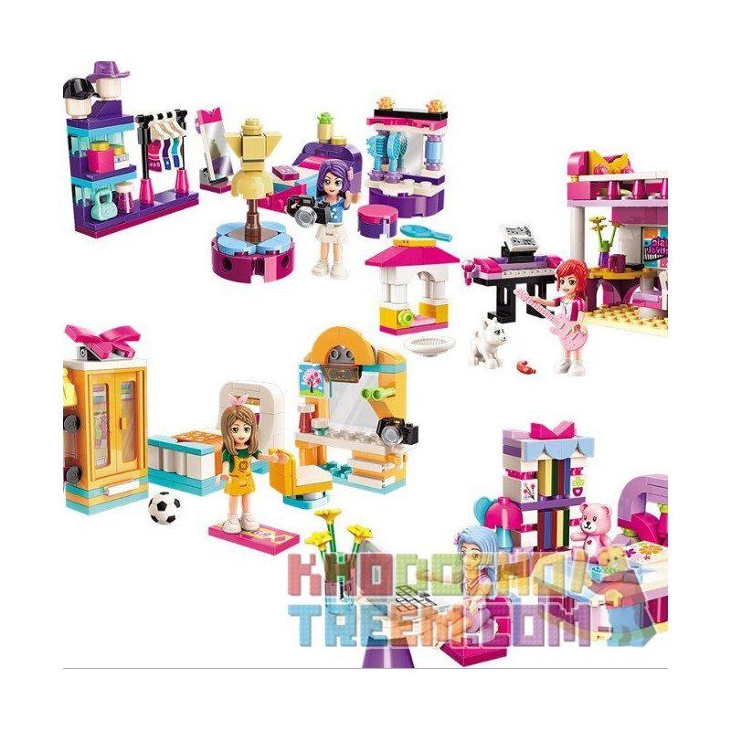 Enlighten 4101 4101-1 4101-2 4101-3 4101-4 Qman 4101 4101-1 4101-2 4101-3 4101-4 KEEPPLEY 4101-1 4101-2 4101-3 4101-4 Xếp hình kiểu Lego FRIENDS Cherry 4 căn phòng của công chúa Shirley gồm 4 hộp nhỏ