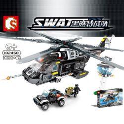 Sembo 102458 (NOT Lego SWAT Special Force Helicopter ) Xếp hình Trực Thăng Vận Tải Lớn 1020 khối